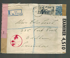 1941 Cork Ireland Dual Censored Cover to England