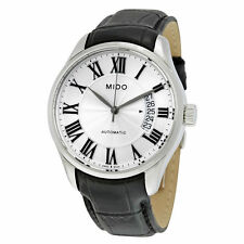 Mido Belluna II Automatic Silver Dial Mens Leather Strap Watch M0244071603300