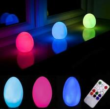REMOTE CONTROLLED INDOOR OUTDOOR COLOUR CHANGING LED EGG MOOD LIGHT NIGHT LAMP