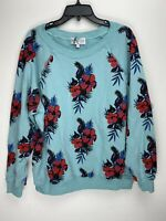 Wildfox Couture Womens Flowers Pullover Sweater Blue