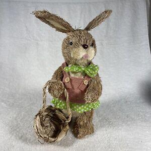 "Easter Bunny Rabbit Decoration Figure - Wicker/Straw 13"""