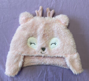 Just One You by Carter's Baby Girl 3D Reindeer Winter Hat Earflap Pink Size 6-9M