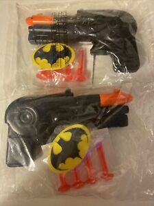 Set of 2 Rare DC 1989 Batman Speargun Soft Dart Gun Toy Great Christmas Present