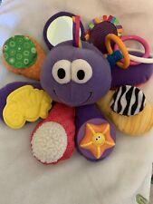 Lamaze Purple Plush Octopus Sensory Baby Toy Rattle Crinkle Rings Mirror 10�