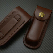 "Real Leather Sheath Pocket Fit 2"" Belt Carrying Multi Tool Folding Knife Case"