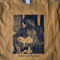 John Lee Hooker t shirt sitting Vintage Style Blues Guitar Rock S-5XLG tan
