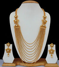 Long Necklace Earrings Ethnic Indian Bollywood Gold Plated Kundan Jewellery Set