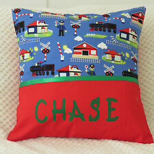 CHILDS/BOYS/BABY PERSONALISED NAME CUSHION COVER/NURSERY/GIFT - RAILWAY TRAINS -