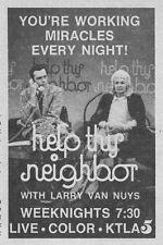 """1973 KTLA TV AD~LARRY VAN NUYS HOSTS """"HELP THY NEIGHBOR"""" in LOS ANGELES,CA"""
