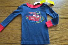 Boy LS Pajama Shirt Sz 2T Blue Cars Decal 100% Cotton Old Navy NWT