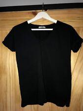 Women's Pull&Bear Black V-Neck Short Sleeve T-Shirt - Size S