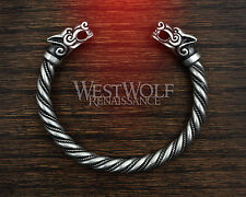 Silver Viking Fenrir Wolf Bracelet/Torc/Torque --- Norse/Medieval/Jewelry/Skyrim