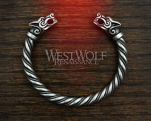 Silver Viking Fenrir Wolf Bracelet/Torc/Torque --- Norse/Medieval/Jewelry/Skyrim