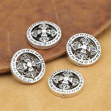 4 Sterling Silver Double Dorje Round Beads Buddhist Busshism Tibetan Vajra Beads