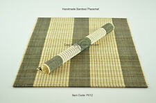 4 Manteles Individuales Hecho a mano de bambú Tabla esteras, Negro-Crema, pequeños defectos, P012