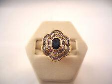 BELLE BAGUE FLEUR EN OR 18K SAPHIR ET DIAMANTS or 18 carats