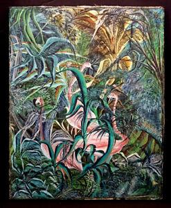 Original JEAN CLAUDE LOUISSAINT Vintage HAITIAN Folk Art FLAMINGO Painting HAITI