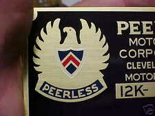 Peerless Motor Car Data Plate acid etched brass Color Logo