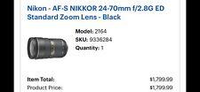 Nikon AF-S NIKKOR 24-70MM F/2.8E ED Lens