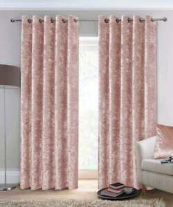 Crushed Velvet Curtains Luxury Pair Ready Fully Lined Eyelet Ring Top Blush Pink