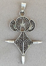 French Antique Religious Sterling Silver Filigree Cross Pendant 19th.c