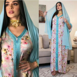 Dubai Women Print Abaya Muslim Long Maxi Dress Kaftan Jilbab Moroccan Party Robe