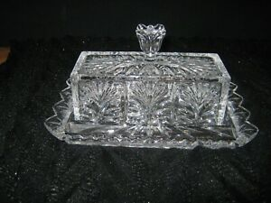 Fancy Crystal Clear Glass Butter Serving Dish