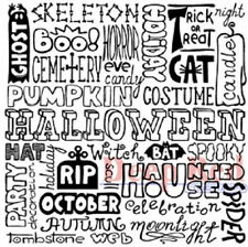 Deep Red Rubber Cling Stamp Halloween Backgrounds Words Writing