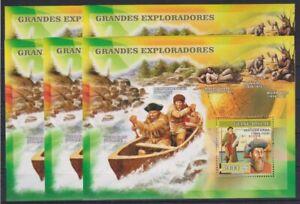 V450. 5x Guinea-Bissau - MNH - Famous People - Explorers - 2007 - Bl.