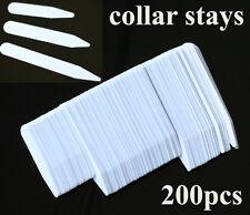200 Plastic White Collar Stays Bones Stiffeners 3 Sizes