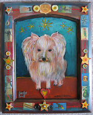 Charles Davison art painting dog mixed media on panel listed artist Southwest