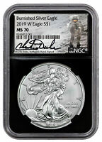 2019 W 1 oz Burnished American Silver Eagle $1 NGC MS70 Blk Duke Signed SKU58674