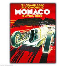 Letrero de metal placa de Pared Gran Premio de Mónaco GP 1930 Retro De colección cartel impresión de arte