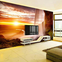 3D Sunset Waterfall Landscape Self-adhesive Living Room Wallpaper Wall Murals