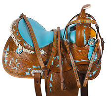14 16 BROWN BLUE WESTERN BARREL RACER RACING LEATHER TRAIL SHOW SADDLE TACK