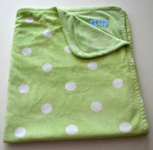 BLANKETS & BEYOND Green White Polka Dot Plush Velour Baby Blanket Lovey