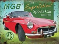 MGB Superlative Sports Car MG Classic Road Car MG Small Metal Steel Wall Sign