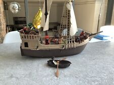 Vintage 1980s Playmobile Pirate Ship And Accessories
