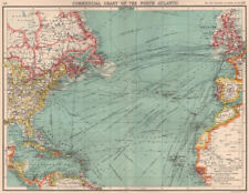 NORTH ATLANTIC COMMERCIAL. Steamer routes TelegraphsRailways Canals 1901 map