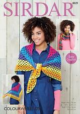 Sirdar Colourwheel Double Knitting Easy Crochet Pattern Number 8029 Shawl