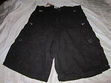 nwot Jordan Craig Black Linen Cotton Black Cargo Shorts Size 32