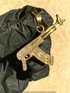 Mens Women 14k Gold Finish Ak-47 Gun Pendant Charm Rope Chain Icy Everyday Wear