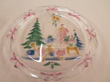 Celebrations Christmas Joy Hand Painted Glass Platter 14 Inch in Diameter
