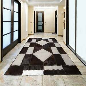 """AYDIN Cowhide Patchwork Rug, Hand Made, Hair-On-Hide, Black and White 4'7"""" x 6'6"""