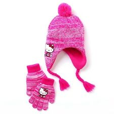 HELLO KITTY Fleece-Lined Knit Trapper Winter Hat & Gloves Set w/ Pom-Pom NWT $22
