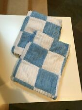 """Pair of 2 Blue/White Check Patchwork Chenille Standard Pillow Shams ~ 22"""" x 27"""""""
