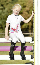 New Kids Girls Fun comfortable white strech show shirt -Easy Care 122/128 cm