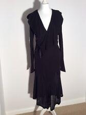 Authentique Yves St Laurent Rive Gauche Italien Noir Couture Robe Large 12