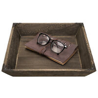 MyGift 12 in Rustic Burnt Paulownia Wood Serving Tray with Antique Metal Accents