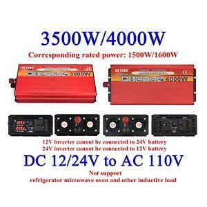 US Portable Car Power Inverter DC 12V Or 24V to AC 110V Converter 3500/4000W